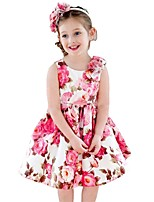 cheap -Girl's Party Daily School Holiday Going out Floral Print Jacquard Dress,Cotton All Season Sleeveless Simple Vintage Cute Red