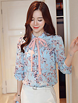 cheap -Women's Daily Casual Spring Fall Blouse,Floral Stand Long Sleeve Polyester Semi-opaque
