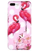 baratos -Capinha Para Apple iPhone 7 iPhone 6 IMD Estampada Capa Traseira Flamingo Estampa Geométrica Desenho Animado Macia TPU para iPhone X