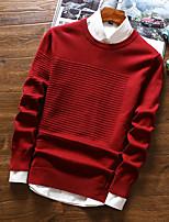 preiswerte -Kurz Pullover-Alltag Freizeit Solide Rundhalsausschnitt Langarm Polyester Winter Herbst Dick Mikro-elastisch
