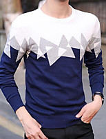 cheap -Men's Going out Regular Pullover,Color Block Round Neck Long Sleeves Polyester Fall Thick Micro-elastic