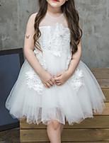 Недорогие -Девичий Платье На выход Полиэстер Однотонный Лето Без рукавов Уличный стиль Белый Розовый