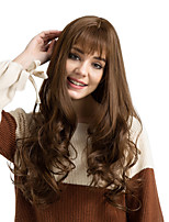 cheap -Wigs For Women Beautiful Light brown Very Long Curly With Bangs hair Synthetic Wigs
