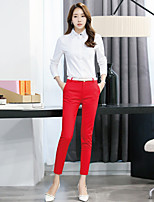 cheap -Women's Work Casual Fall Shirt Pant Suits,Print Shirt Collar Long Sleeve Polyester