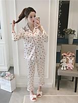 abordables -Costumes Pyjamas Femme Moyen Rayonne Bleu Blanc