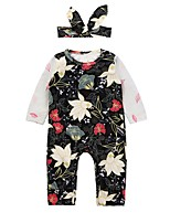 cheap -Baby Girls' Going out Casual/Daily Floral One-Pieces,Cotton Polyester Spring Fall Cute Active Long Sleeve Black