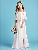 cheap -A-Line Princess Off Shoulder Floor Length Chiffon Junior Bridesmaid Dress with Pleats by LAN TING BRIDE®