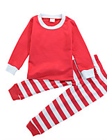 cheap -Unisex Daily Sports Striped Clothing Set, Cotton All Seasons Long Sleeves Casual Active Green Red