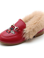 cheap -Girls' Shoes PU Winter Fall Comfort Loafers & Slip-Ons for Casual Dark Brown Red Black