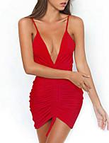 preiswerte -Damen Bodycon Kleid-Party Klub Freizeit Sexy Solide Gurt Mini Ärmellos Polyester Frühling Sommer Mittlere Hüfthöhe Mikro-elastisch