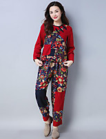 cheap -Women's Daily Casual Chinoiserie Winter Fall T-Shirt Pant Suits,Floral Round Neck Long Sleeve Floral Polyester Micro-elastic