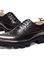 Недорогие -обувь Полиуретан Весна Осень Удобная обувь Туфли на шнуровке для Повседневные Золотой Черный Коричневый