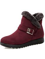 preiswerte -Damen Schuhe Vlies Winter Herbst Stiefeletten Stiefel Flacher Absatz Runde Zehe Booties / Stiefeletten für Normal Draussen Schwarz Braun