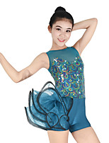 cheap -Jazz Leotards Women's Children's Performance Spandex Elastic Ruched Paillette Cascading Ruffles Sleeveless Natural Leotard Headpieces