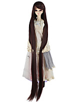 cheap -Synthetic Doll Accessories Very Long Straight Dark Brown Color Wig for 1/3 1/4 BJD SD DZ MSD Doll hair Not for Human Adult Wigs