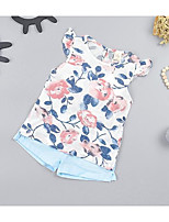 cheap -Baby Girls' Daily Floral Clothing Set,Cotton Spring Summer Street chic Sleeveless White Gray