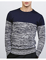 cheap -Men's Going out Casual Print Round Neck Pullover, Long Sleeves Winter Polyester