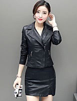 cheap -Women's Holiday Going out Street chic Winter Fall Leather Jacket,Solid Shirt Collar Long Sleeve Short PU