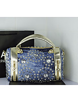 Women Bags PU Tote Appliques for Casual All Season Silver Gold