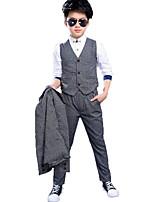 preiswerte -Jungen Kleidungs Set Alltag Schultaschen Solide Baumwolle Polyester Frühling Herbst Langärmelige Freizeit Street Schick Marineblau Grau