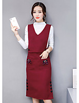 cheap -Women's Going out Simple Winter Fall Blouse Dress Suits,Solid Round Neck Long Sleeves Pure Color Cotton Polyester Inelastic