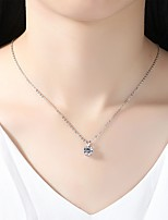 cheap -Women's Drop Simple Elegant Pendant Necklace Cubic Zirconia Rhinestone Silver Pendant Necklace , Wedding Evening Party