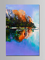 cheap -Hand-Painted Landscape Vertical, Comtemporary Simple Modern Canvas Oil Painting Home Decoration One Panel
