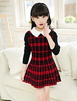 cheap -Girl's Daily Plaid Dress,Cotton Polyester Spring All Seasons Long Sleeves Cute Yellow Gray Red
