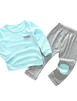 cheap -Baby Girls' Daily Solid Clothing Set, Cotton Spring Simple Casual Long Sleeves Blushing Pink Light Blue