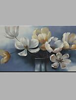 Недорогие -Ручная роспись Цветочные мотивы/ботанический Горизонтальная,Modern Холст Hang-роспись маслом Украшение дома 1 панель