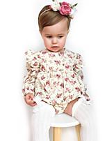 Недорогие -малыш Девочки 1 предмет Повседневные Хлопок Лён Бамбуковая ткань Акрил Однотонный Цветочный принт Весна С короткими рукавами Простой