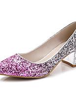 Недорогие -Жен. Обувь Лак Весна Осень Удобная обувь Обувь на каблуках На толстом каблуке для Повседневные Золотой Серебряный Лиловый Темно-серый