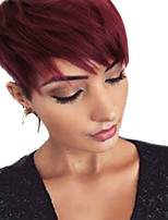 cheap -Straight Pixie Cut Machine Made Human Hair Wigs Side Part Short Natural Black Medium Auburn Dark Wine