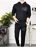 cheap -Men's Casual/Daily Activewear Set Lolita Hooded Inelastic Cotton Long Sleeves Winter Fall