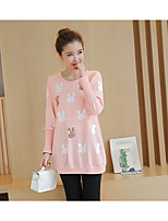 cheap -Women's Casual/Daily Cute T-shirt,Animal Print Round Neck Long Sleeves Polyester