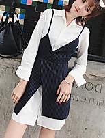 preiswerte -Damen Solide Freizeit Alltag T-shirt,V-Ausschnitt Winter Herbst Langärmelige Baumwolle Acryl Mittel
