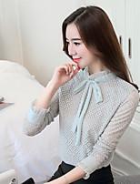 abordables -Mujer Simple Diario Primavera Otoño Camiseta,Escote Chino Un Color Mangas largas Poliéster