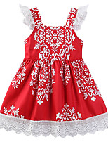 cheap -Girl's Daily Going out Floral Geometric DressCotton Polyester Summer Sleeveless Casual Boho Chinoiserie Red