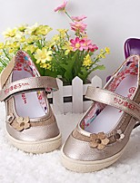 cheap -Girls' Shoes Leatherette Spring Fall Flower Girl Shoes Comfort Flats for Casual Gold Silver