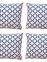 cheap -4 pcs Cotton/Linen Pillow Cover,Floral Geometric Art Deco
