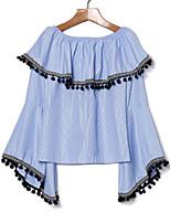 cheap -Women's Cotton Shirt - Striped Boat Neck