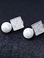 cheap -Women's Stud Earrings Basic Silver Plated Square Jewelry For Wedding Party