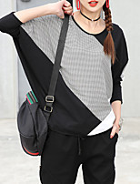 cheap -Women's Cotton T-shirt - Color Block