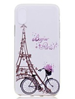 baratos -Capinha Para Apple iPhone X iPhone 8 Plus Transparente Estampada Capa traseira Torre Eiffel Macia TPU para iPhone X iPhone 8 Plus iPhone