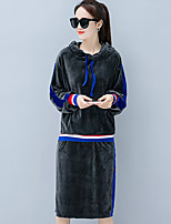 Women's Going out Casual/Daily Simple Fall Hoodie Skirt Suits,Solid Hooded Long Sleeves Cotton