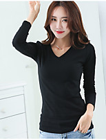 cheap -Women's Daily Casual Fall T-shirt,Solid V Neck Long Sleeve Cotton Medium