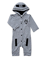 cheap -Baby Kid's Casual/Daily Print One-Pieces,Cotton Spring Ordinary Long Sleeve Gray