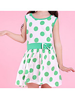 cheap -Girl's Polka Dot Dress Summer Sleeveless Simple Fuchsia Black Green