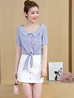 cheap -Women's Casual/Daily Simple Summer Fall Shirt Skirt Suits,Striped Shirt Collar Short Sleeves Cotton