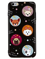 baratos -Capinha Para Apple iPhone 7 iPhone 6 IMD Estampada Capa Traseira Animal Desenho Animado Macia TPU para iPhone 7 Plus iPhone 7 iPhone 6s
